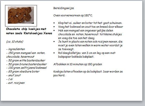 recept choclate chips koekjes met noten