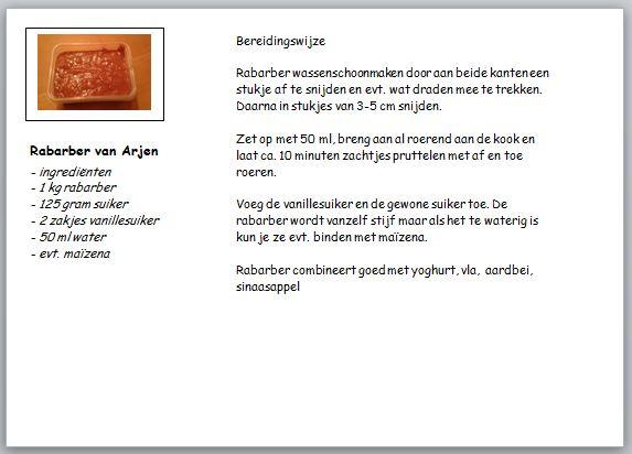 recept rabarber van Arjen