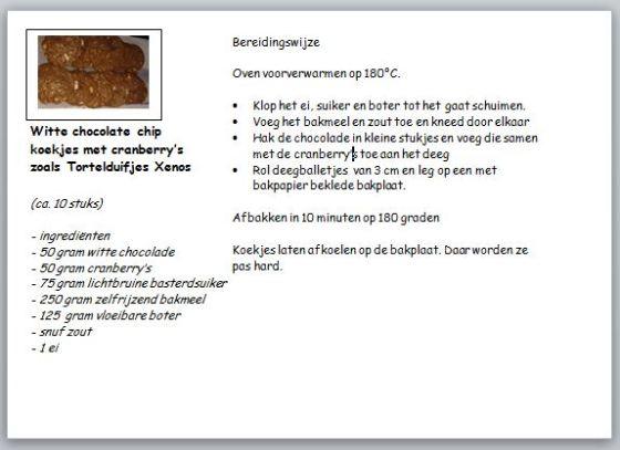 recept witte choclatechipskoekjes met cranberry 's