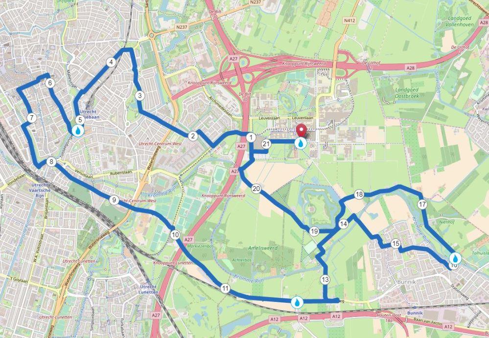 Utrecht halve marathon route